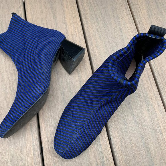 Zara SOCK-STYLE BLUE AND BLACK STRIPE ANKLE BOOTS